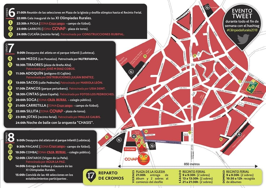 Mapa Olimpiadas Rurales 2018 callejero guia