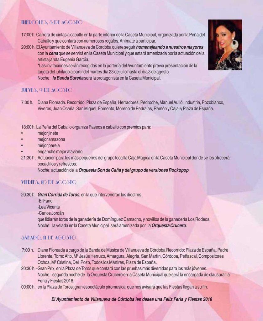 Programa Feria de Villanueva de Córdoba 2018