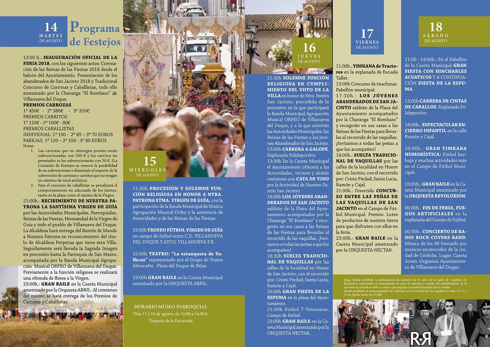 Programa Feria de Villanueva del Duque 2018