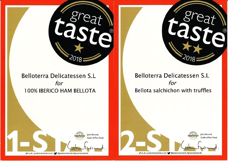 Premios Great Taste 2018 certificado Belloterra