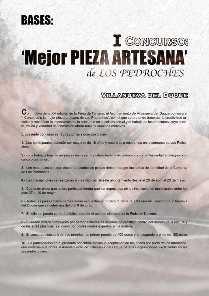 Bases Concurso mejor pieza artesana de Los Pedroches